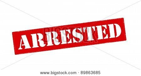 Rubber stamp with word arrested inside vector illustration