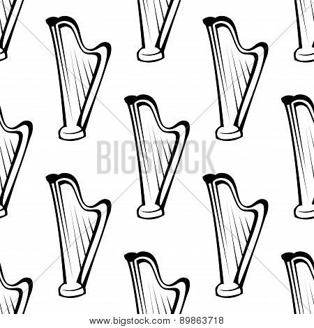 Harp musical instrument seamless pattern