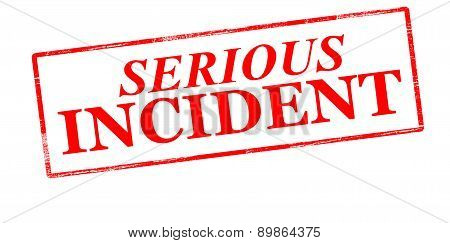 Rubber stamp with text serious incident inside vector illustration