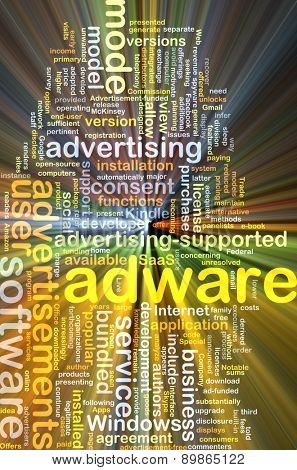 Background text pattern concept wordcloud illustration of adware software glowing light