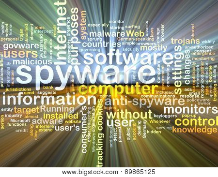 Background text pattern concept wordcloud illustration of spyware software glowing light