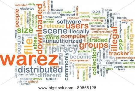 Background text pattern concept wordcloud illustration of warez