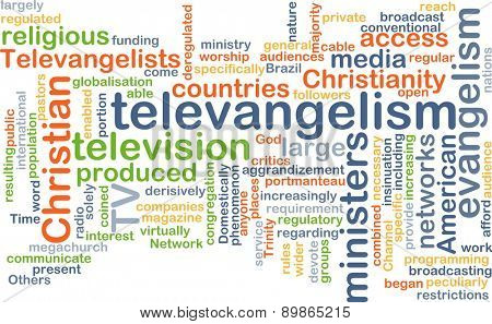 Background text pattern concept wordcloud illustration of televangelism