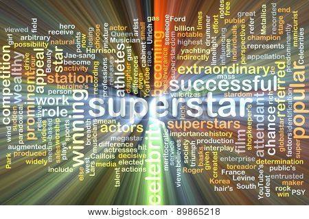 Background text pattern concept wordcloud illustration of superstar glowing light
