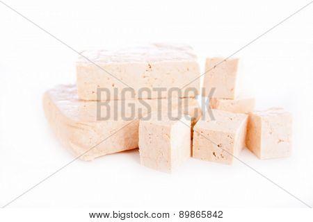 tofu on white background