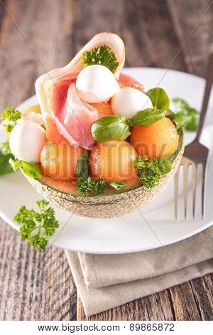 salad with melon,prosciutto and mozzarella