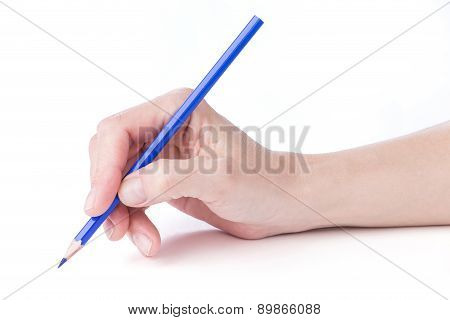 Female Hand With A Blue Pencil
