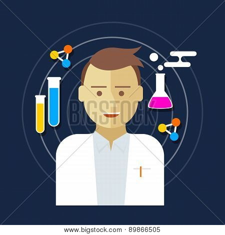 chemist scientist lab vector illustration