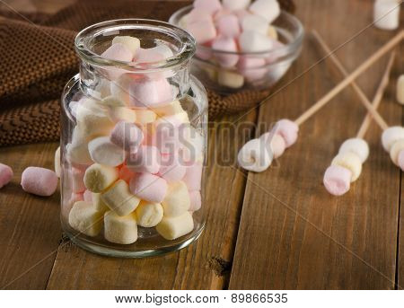 Sweet Marshmallows In A Glass Jar.