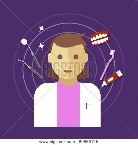 dentist occupation vector illustration woman