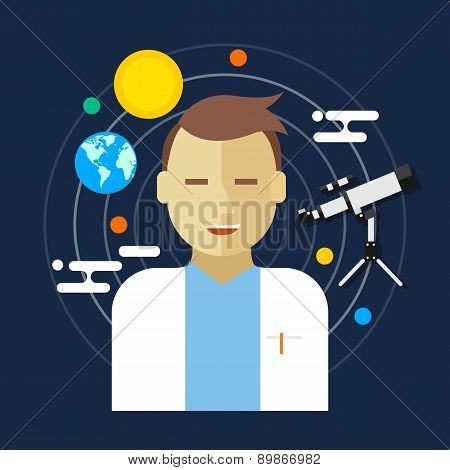 astronomer space science man vector illustration