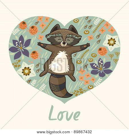 Floral heart with raccoon