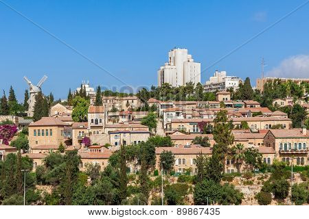 View of Yemin Moshe old neighborhood in Jerusalem, Israel.