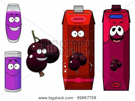 Happy cartoon currant  fruit and juice drinks