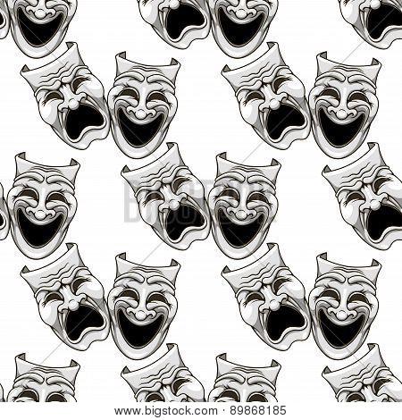Cartoon theater masks seamless pattern