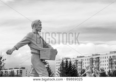Seed Sowing White Man Statue