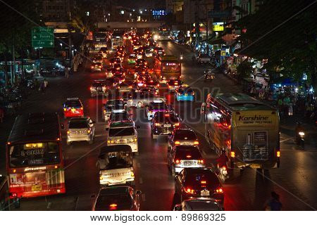 Heavy Traffic At Main Road In Bangkok At Night