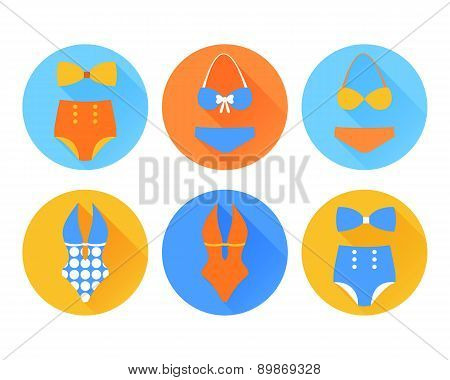 Set of the swimming suit flat icons