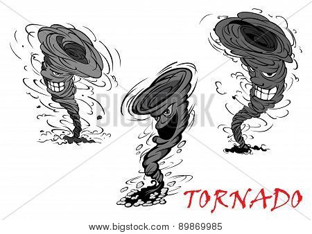 Nasty cartoon tornado, hurricane and thunderstorm