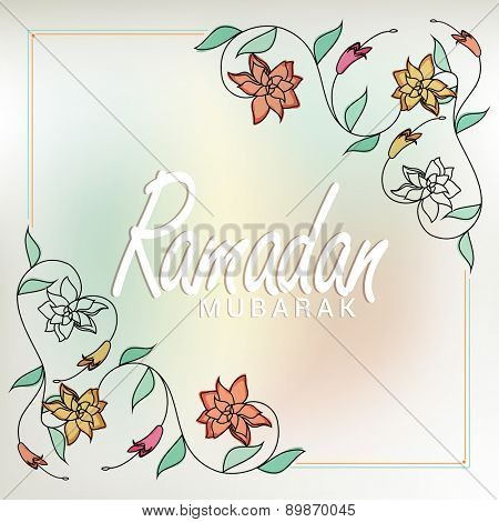 Elegant greeting or invitation card decorated with beautiful floral design for holy month of Muslim community, Ramadan Kareem celebration.