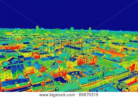 Infrared Image Panorama Of Zagreb