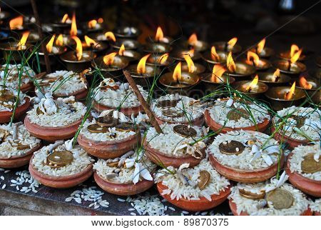 Nepali Religious Ritual In Swayambhunath Stupa