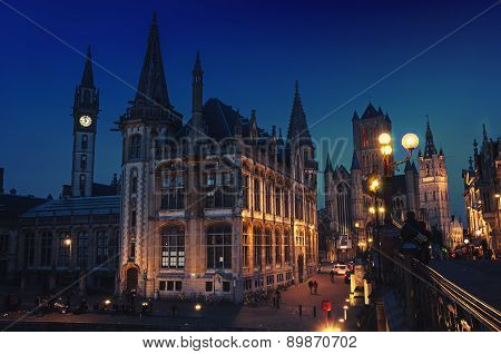 Ghent In Belgium At Night