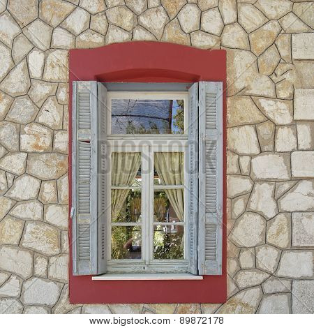 vintage colorful home window, Greece