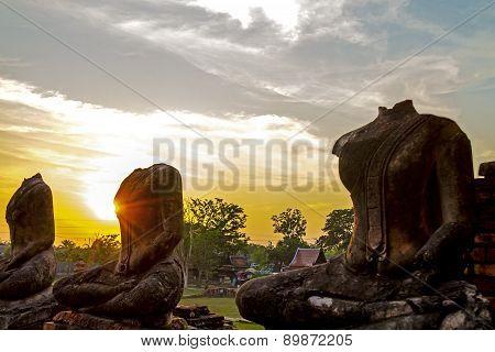 Silhouette Ruins Buddha