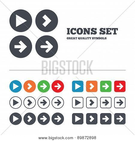 Arrow icons. Next navigation signs symbols.