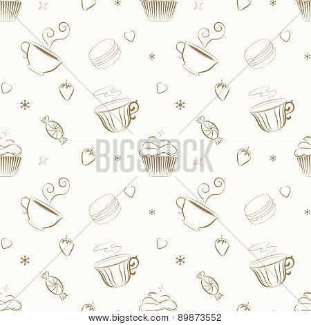 Elegant hand drawn vector seamless patterns with sweets and teac