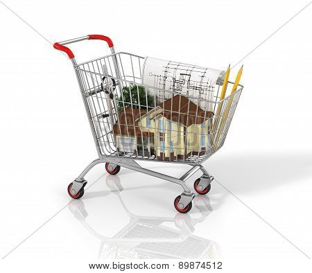House And Blueprint In The Shopping Cart.