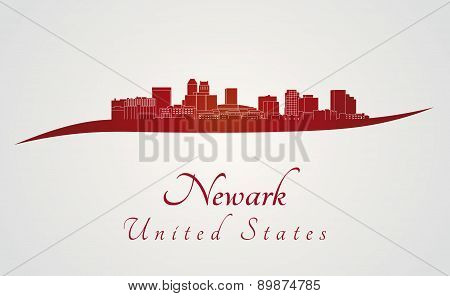 Newark Skyline In Red