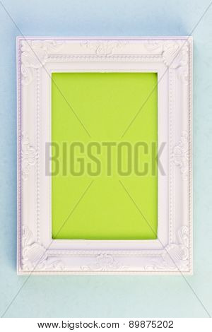 White Frame on Blue Background