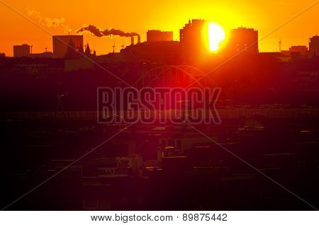 Sunset Over Industrial Districts Of Amsterdam, The Netherlands