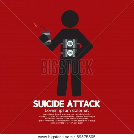 Suicide Attack With Bomb Symbol.