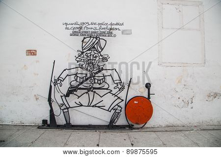 George Town, Penang, Malaysia - March 26, 2015: Wire Steel Rod Wire Art Around Penang George Town Ar