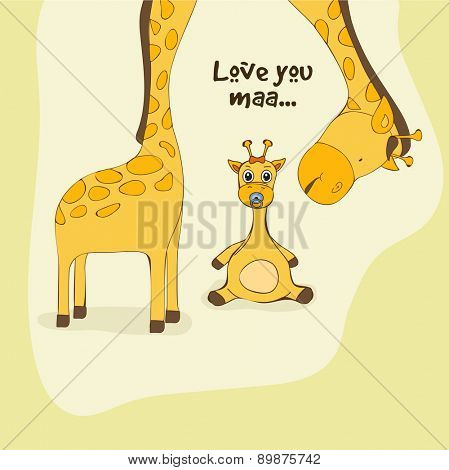 Happy Mother's Day celebration with illustration of baby giraffe saying to mother giraffe Love You Maa on vintage background.