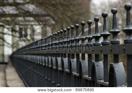 Line Of Wrought-iron Fence Spikes