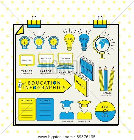 Creative education infographic teamplate include books, laptop, desktop, globe, stationery and graph.