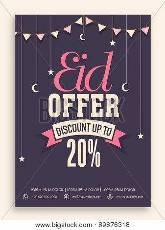 Sale poster, banner or flyer design decorated with hanging stars and moons for Muslim community festival, Eid celebration.