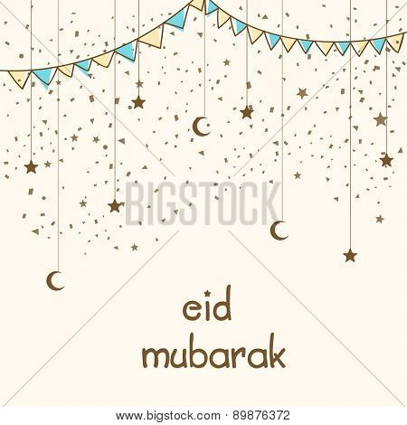Elegant greeting card design decorated with hanging crescent moon, stars and buntings for Muslim community festival, Eid celebration.