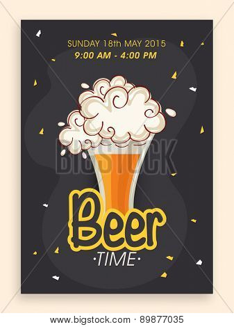 Beer time flyer, banner or template design with time and date details.