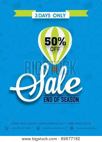 End of season sale flyer, banner or template with discount offer.