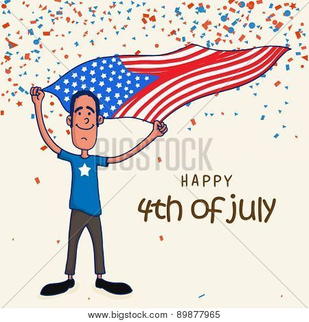 Happy young man waving American national flag for Happy 4th of July, Independence Day celebration on confetti decorated background.