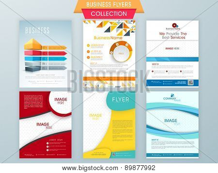 Set of infographical and statistical business flyers collection with place holders for your image and content.