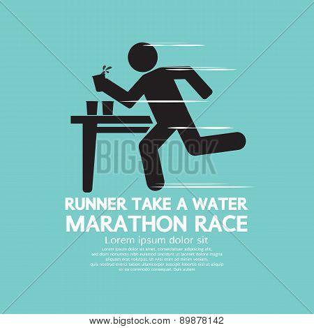 Runner Take A Water In A Marathon Race Symbol.