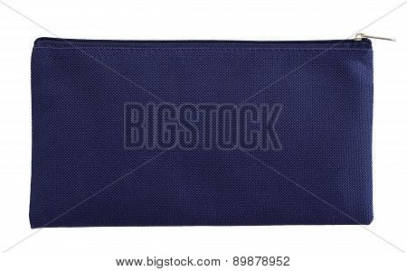 Blue Canvas Bag Isolated On White With Clipping Path