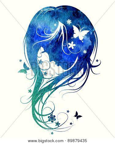 Gentle Feminine Image Made Watercolor