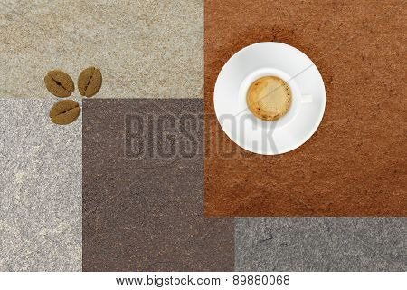 White Cup coffee on colored Table whit cookies